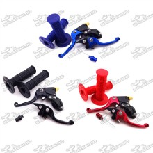CNC Alloy Folding Brake Clutch Lever + Throttle Handle Grips + Fuel Tank Cap Vent Valve For Chinese Pit Pro Dirt Bike MX Motocross
