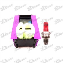6 Pin Racing Adjuster AC CDI + 3 Electrode A7TC Spark Plug For 50cc 125cc 150cc ATV Quad GY6 Scooter Moped