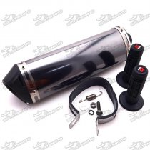 38mm Exhaust Muffler With Removable Silencer Clamp + Throttle Handle Grips For Pit Dirt Trail Bike ATV Quad 4 Wheeler Motorcycle Motocross