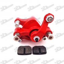 Red Front Disc Brake Caliper + Brake Pads For Chinese Pocket Bike Mini Dirt Bike Gas Scooter Kids ATV Quad 4 Wheeler Minimoto 43cc 47cc 49cc