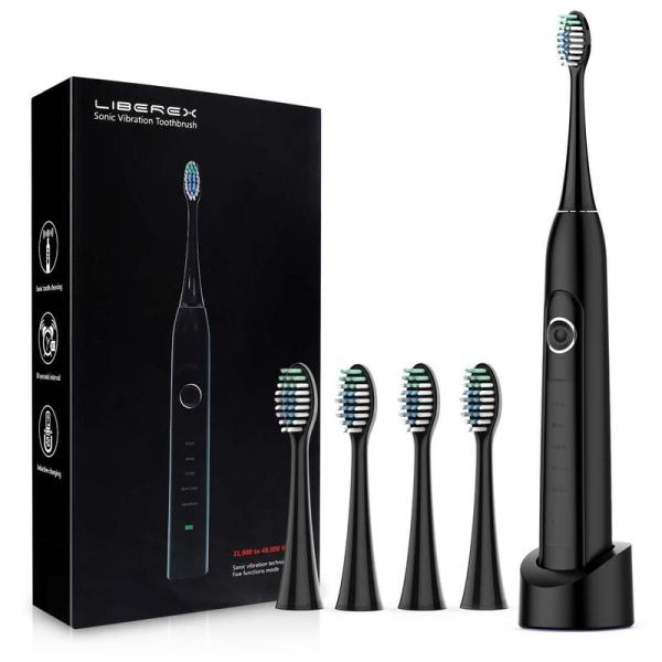 【Adults】Upgraded Sonic Electric Rechargeable Toothbrush MS100 with 5 Cleaning Modes, IPX7 (Black)