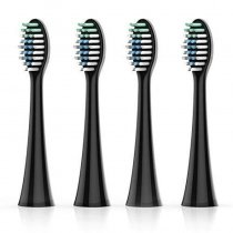【Adults】Electric Toothbrush Head Replacement for MS100, 4-Pack, Black