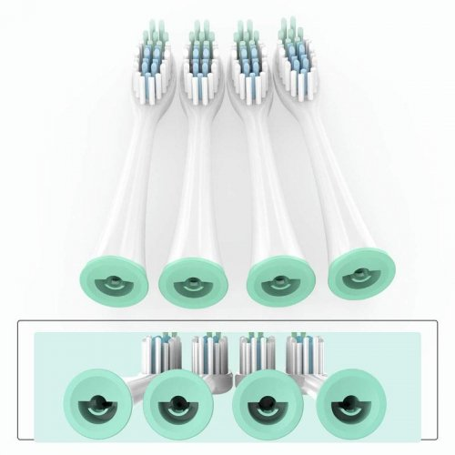 【Adults】Electric Toothbrush Head Replacement for MS100, 4-Pack, White