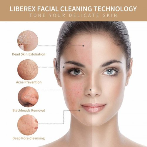 Liberex RF100 Facial Cleansing Brush with 2 Brush Heads IPX7 Waterproof