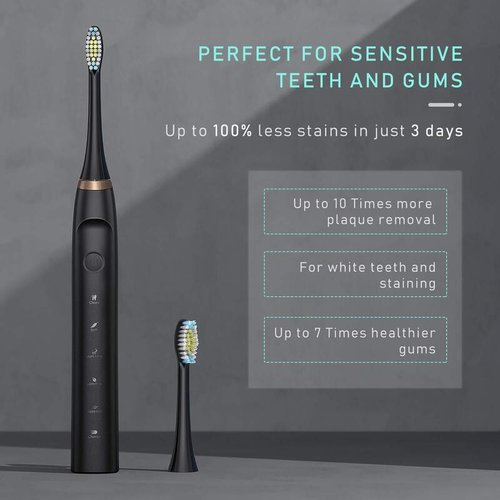 Liberex Sonic Electric Toothbrush MS300 with 6 Replacement Heads