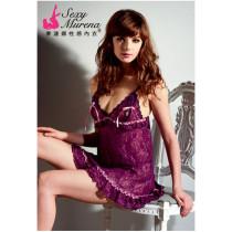 紫色情挑露咪咪短睡衣(贈丁字褲)