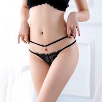 性感黑色蕾絲花紋底褲