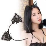 蕾絲鏤空貓耳黑色發箍