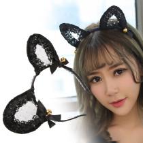蕾絲鏤空貓耳黑色發箍-鈴鐺款