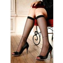 心形飾紋大網眼黑色超薄中統絲襪