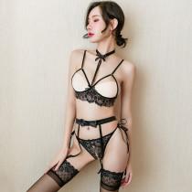 黑色蕾絲露胸開檔三點式套裝