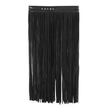 女士束縛黑白色皮革多條流蘇裙子