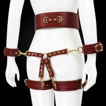 皮革手銬帶腿環捆綁束腰十字架4件套_深咖啡色