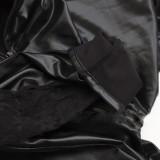 黑色束縛連體漆皮吊帶褲