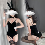 金絲絨兔女郎連體衣黑色套裝