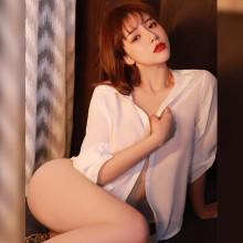 開襟男友情趣襯衣白色(衬衫+T裤)