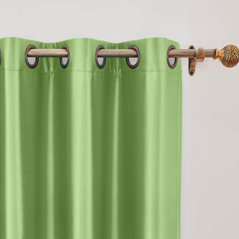 Polyester Cotton Silk Curtain Drape Panel in Antique Bronze Grommet with Blackout Lined
