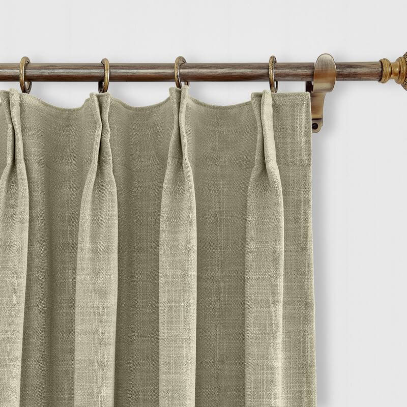 Pinch Pleated Faux Linen Window Curtain with Blackout Lined for Sliding Door Living Room Bedroom (1 Panel) Liz Collection