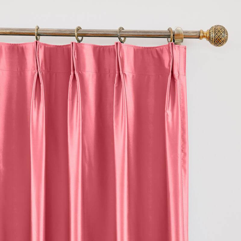 Polyester Cotton Silky Drape with Blackout Lined Pinch Pleated Window Curtain Panel