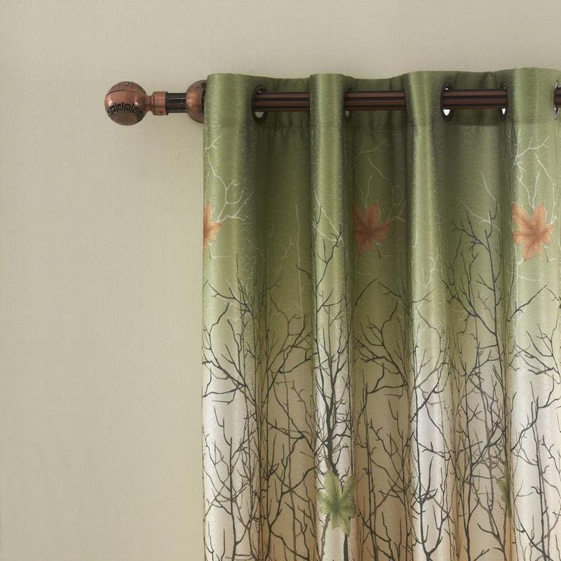 Maple Leaf Print Polyester With Blackout Lined Window Curtain Drape Antique Brone Grommet (1 Panel )  For Bedroom Living Room Club Restaurant