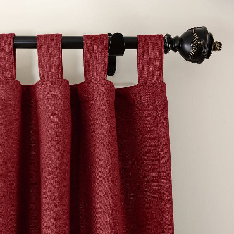 Olive Luxury Textured Faux Linen Window Curtain, Tab Top Drapery Solid Panel (1 Panels)