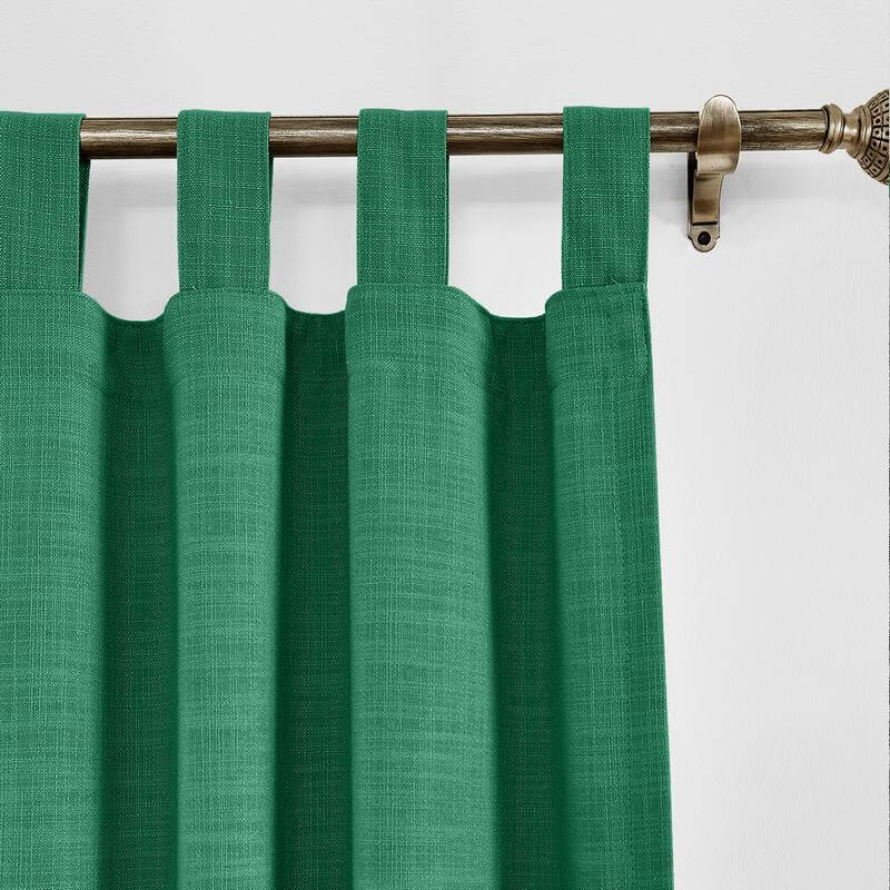 Liz Tab Top Faux Linen with Blackout Lined Window Curtain Panel for Sliding Door Living Room Bedroom (1 Panel)