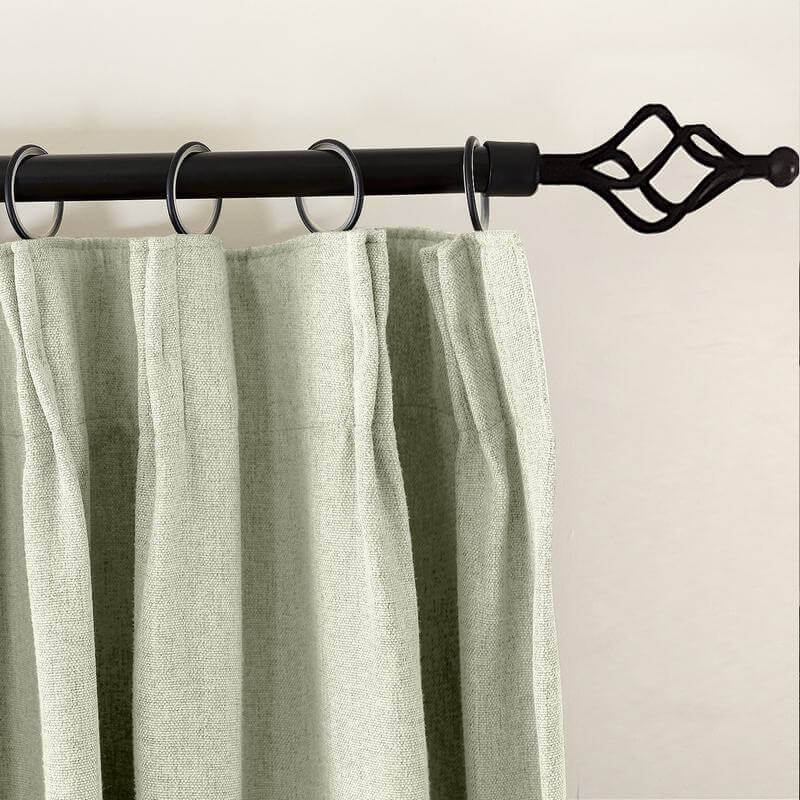 Olive Heavyweight Luxury Faux Linen Curtain Pinch Pleat Drapery Panel For Traverse Rod Ring Clip or Track (1 Panel)