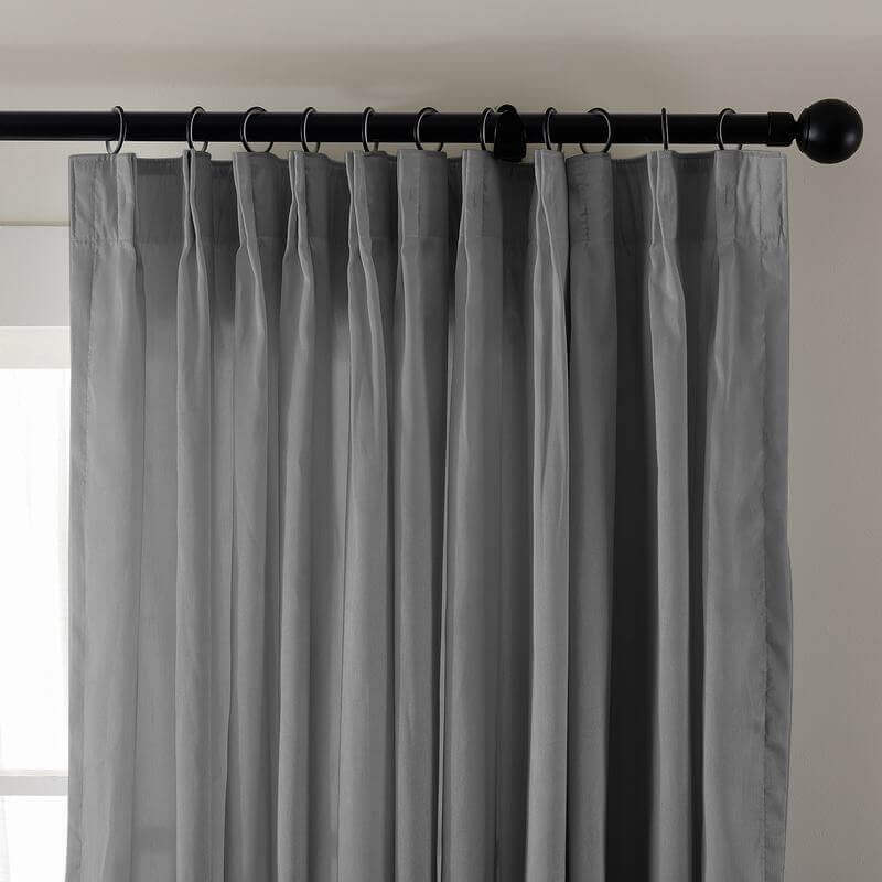 Pinch Pleated Textured Faux Dupioni Silk Drape Curtain with Blackout Lined