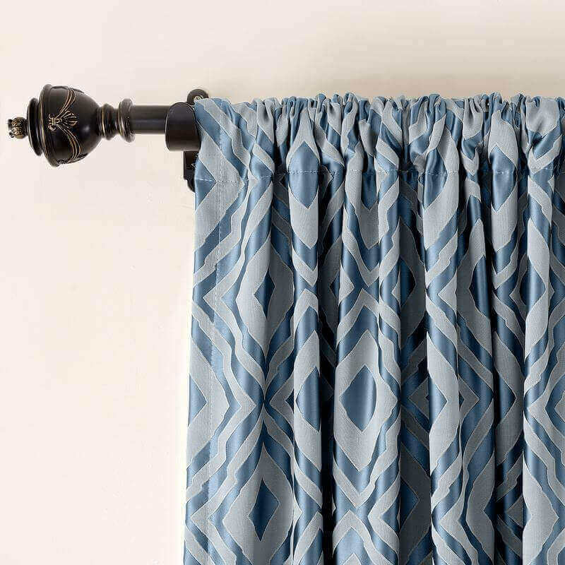 Rod Pocket Dust Proof Rhomboid Jacquard Curtain, Two-Toned Damask Diamond with Blackout Lined ( 1 Panel ) Nina
