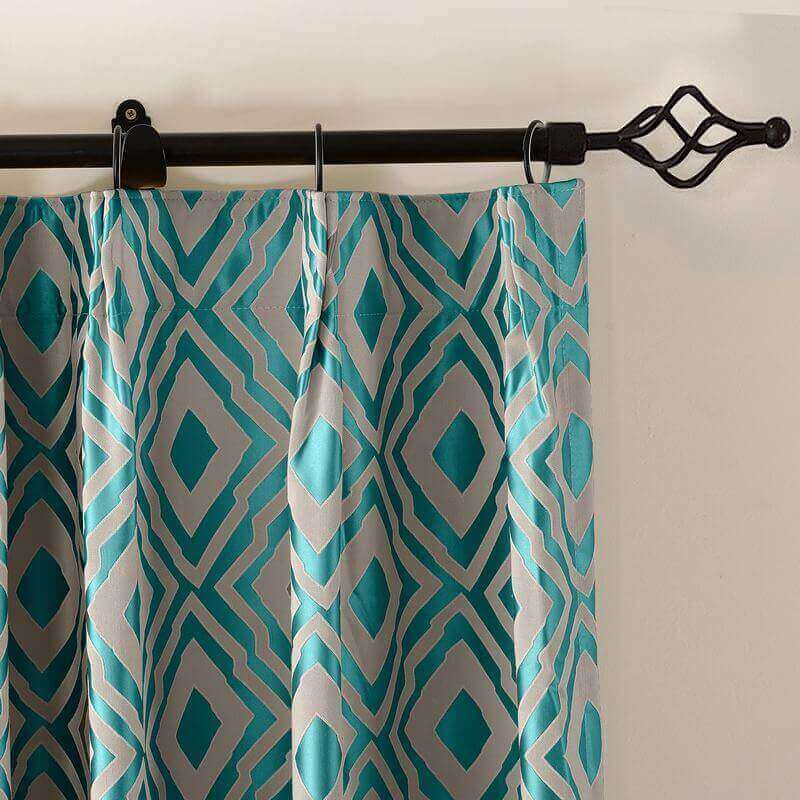 Nina Dust Proof Curtains Blackout Pinch Pleated Jacquard Window Curtain, Two-Toned Damask Diamond (1 Panel )