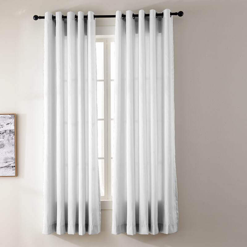 Us 41 99 Yun Faux Dupioni Silk Drape Curtain Panel With White Blackout Lined Antique Bronze Grommet Www Chadmadecurtains