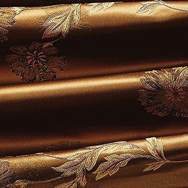 Nickle Grommet Heavy Weight Polyester Brown Flower Jacquard Energy Saving Lined Curtain Drapery