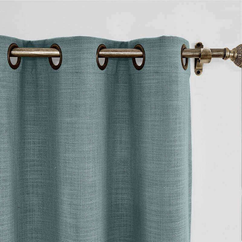 Antique Bronze Grommet Liz Fuax Linen Window Curtain with Blackout Lined for Sliding Glass Door Living Room Bedroom (1 Panel)