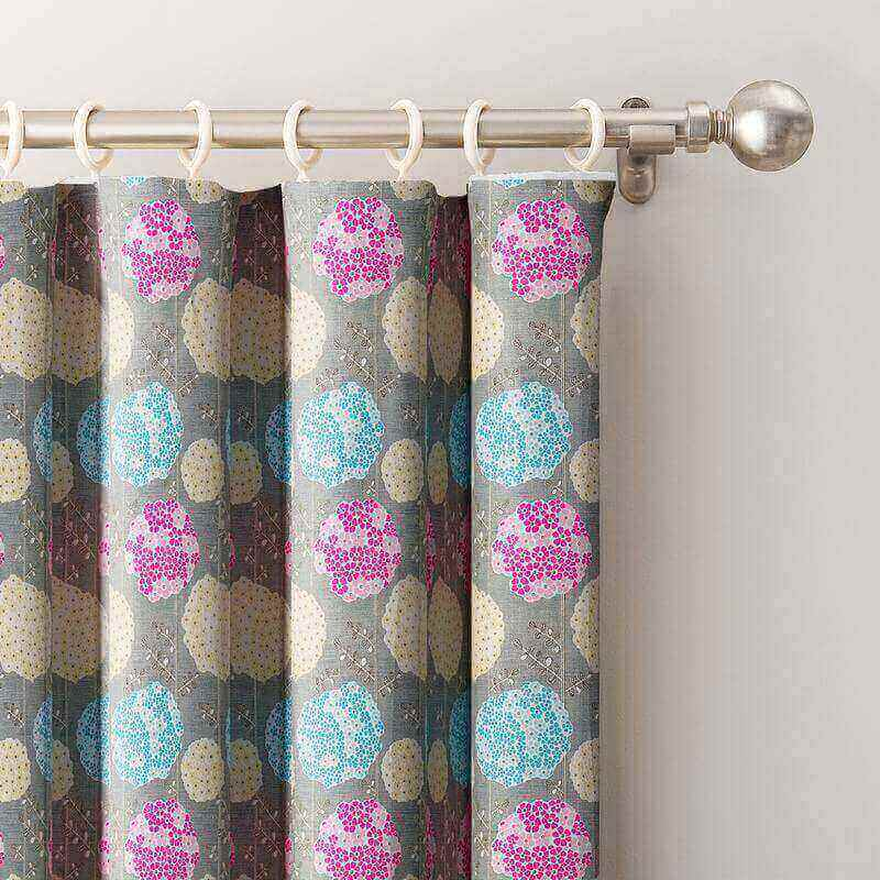 Cartoon Flowers Printed Window Drapes Flat Hook Thermal Insulated Blackout Lining Curtain