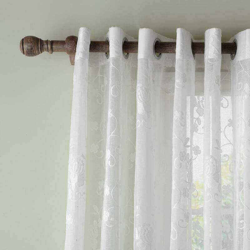 Extra Wide Premium Embroidery Grommet White Sheer Curtain (1 Panel)