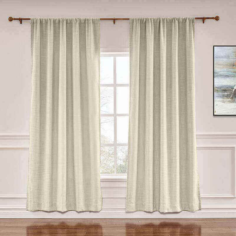 CUSTOM Liz Sand Beige Polyester Linen Window Curtain Drapery with Lined