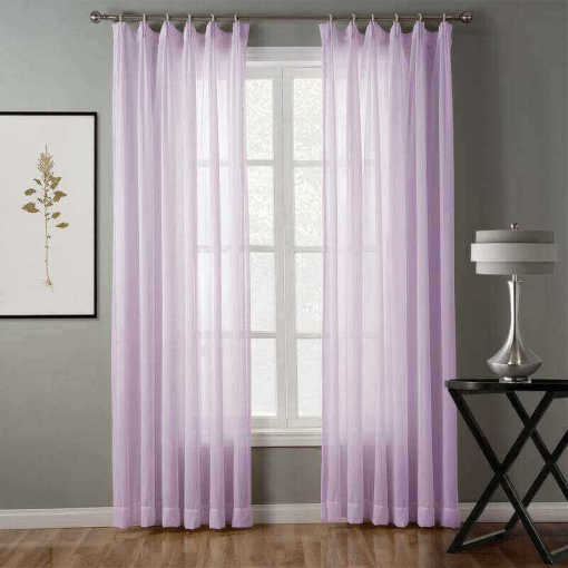 Hollow Mesh Herringbone Polyester Pinch Pleated Soft Sheer Curtain Drapery GENNY