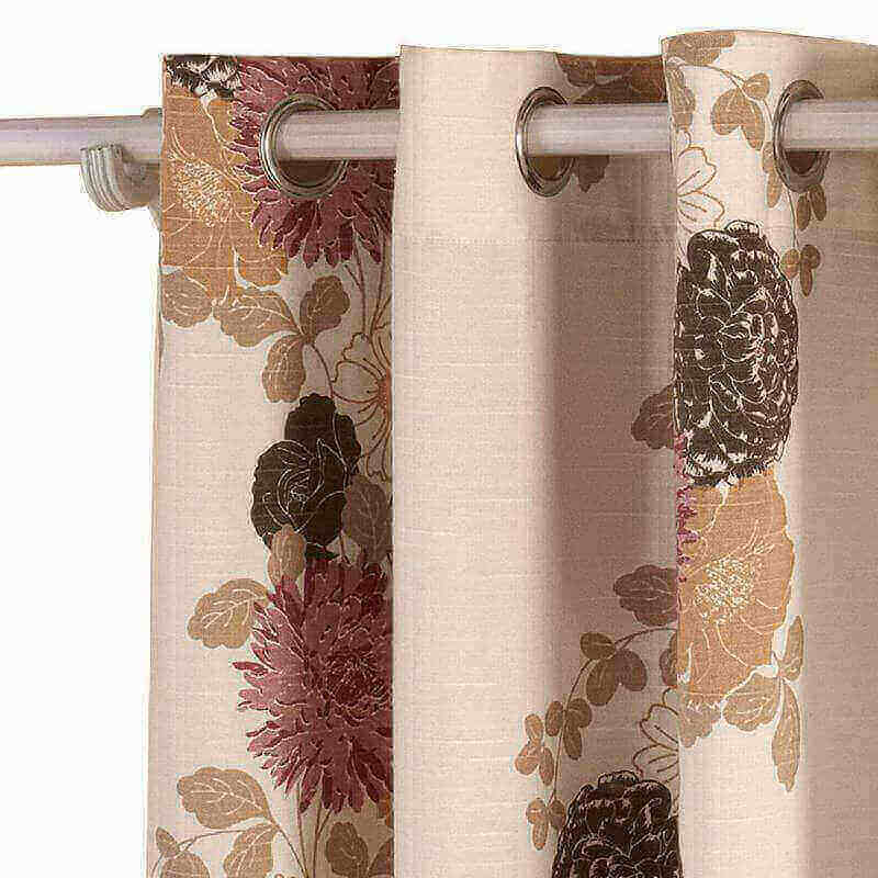 Country Style Polyester Cotton Blend Flower Printed Blackout Lined Curtain Drape Silver Nickel Grommet (1 Panel ) SOFITEL For Bedroom Living Room Club Restaurant