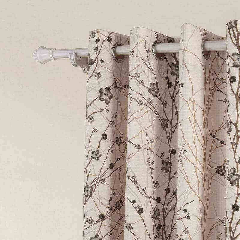 Country Style Plum Blossom Polyester (1 Panel) Blackout Lined Curtain Drape Silver Nickel Eyelet Grommet SOFITEL Collection For Bedroom | Living Room | Club | Restaurant
