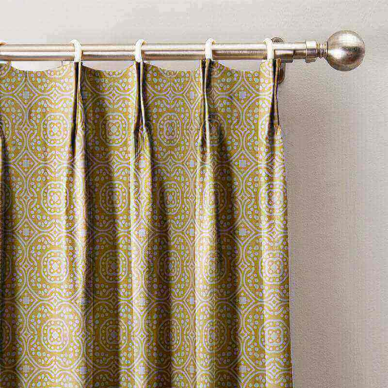 Geo Print Pinch Pleat Drapes Room Darkening Curtains with Blackout Lining
