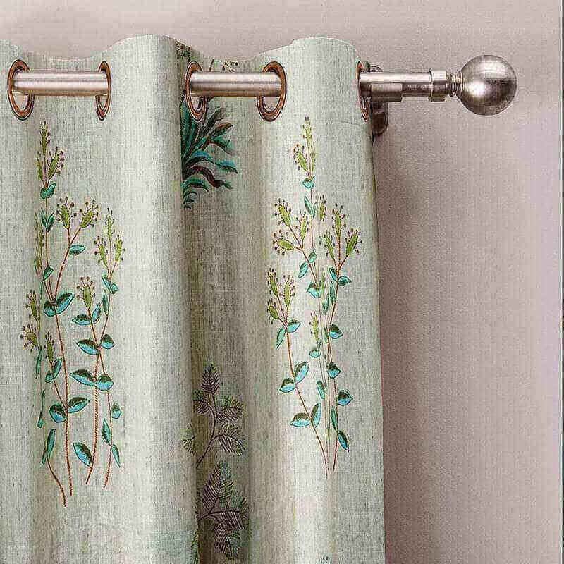Botanical Floral Print Polyester Cotton Blackout Lining Curtain Drapes