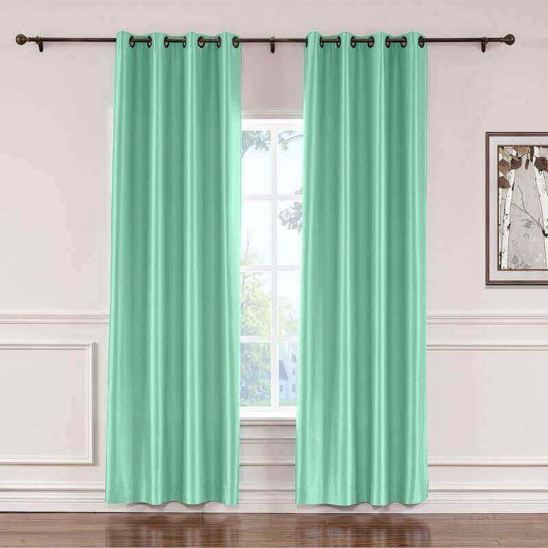 CUSTOM Lao Hang Zhou Aqua Mist Polyester Cotton Thermal Insulated Curtain