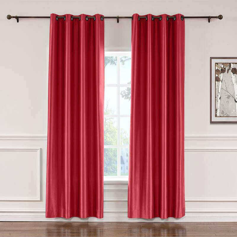 CUSTOM Lao Hang Zhou Red Polyester Cotton Thermal Insulated Curtain