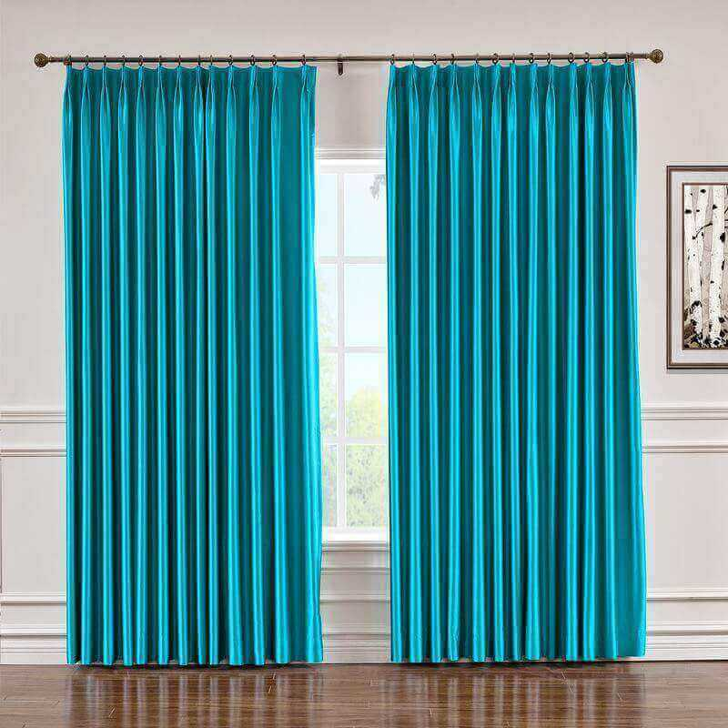 CUSTOM Lao Hang Zhou Turquoise Polyester Cotton Thermal Insulated Curtain