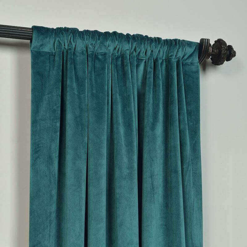 CUSTOM Birkin Everglade Teal Velvet Curtain Drapery With Lining For Traverse Rod Pole or Track