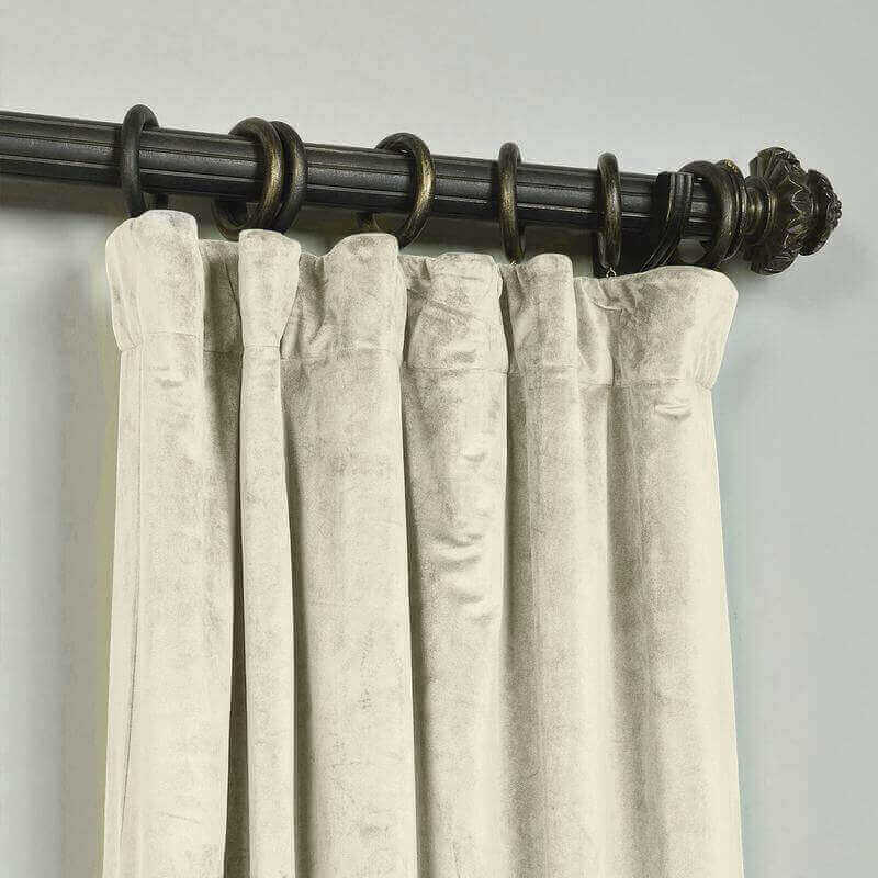 CUSTOM Birkin Beige Velvet Curtain Drapery With Lining For Traverse Rod Pole or Track