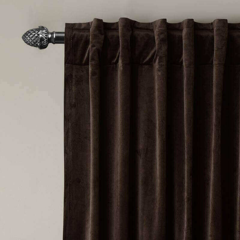 CUSTOM Birkin Chocolate Velvet Curtain Drapery With Lining For Traverse Rod Pole or Track