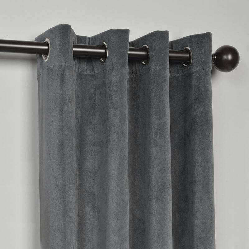 CUSTOM Birkin Natural Grey Velvet Curtain Drapery With Lining For Traverse Rod Pole or Track