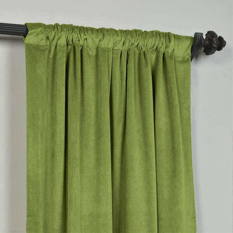 CUSTOM Birkin Green Velvet Curtain Drapery With Lining For Traverse Rod Pole or Track