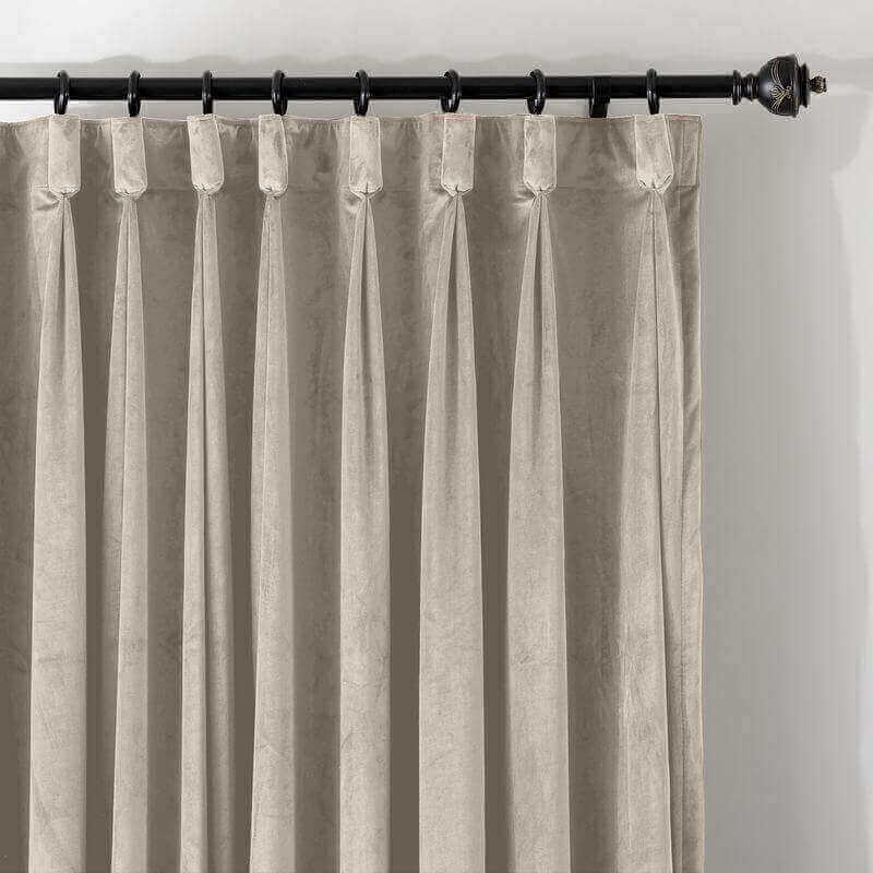 CUSTOM Birkin Ivory Velvet Curtain Drapery With Lining For Traverse Rod Pole or Track